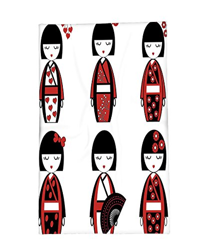 Geisha Outfits For Sale (Interestlee Fleece Throw Blanket Girly Decor Collection Unique Japanese Geisha Dolls in Folkloric Costumes Outfits and Hair Sticks Kimono Art Image Black Red)