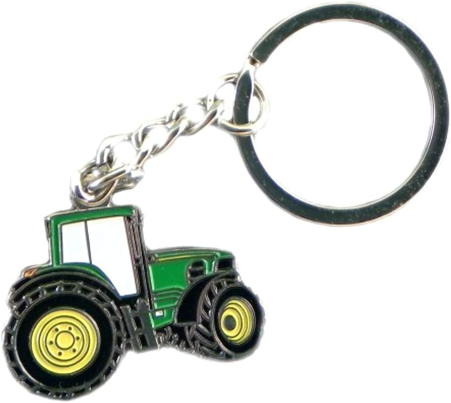 Green Tractor Keyring /& Pin Badge Set Farming GIFT Set Boxed Enamel Country