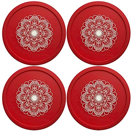 5 Pack - Multicolor Mandala, 5 No Fly Zone Coaster and Wine Glass Cover