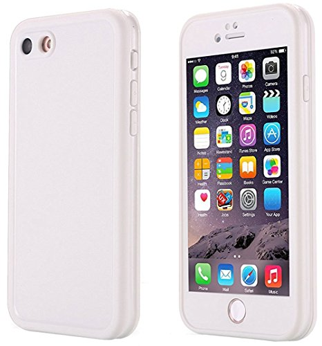 iPhone SE Waterproof Case, Super Slim Thin Light [360 All Round Protective] Full-Sealed IPX-6 Waterproof Shockproof Dust/Snow Proof Case Cover for iPhone SE/5s/ 5 (White Full Cover Case)
