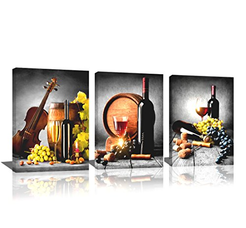 Kitchen Wall Art Canvas Artwork Fruits Grapes Wine Bottle Foods Canvas Painting - 3 Pieces Canvas Art Contemporary Nature Pictures for Dining Room Wall Decor Home Decoration Dining Food