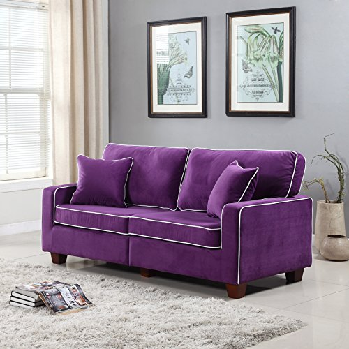 Divano Roma Furniture Collection - Modern Two Tone Velvet Fabric Living Room Love Seat Sofa - Various Colors (Purple)