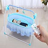 Electric Baby Bedding,WBPINE Baby Cradle,Baby Swing(Blue)