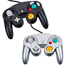 Gaming Joysticks, NewBull Controllers Set for Gamecube (2pcs_Black Silver)