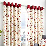 Fusion Beechwood Leaf Trail 100% Cotton Eyelet Lined Curtains, Red, 66 x 90 Inch