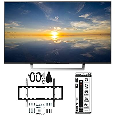 """Sony XBR-49X800D - 49"""" Class 4K HDR Ultra HD TV w/ Slim Flat Wall Mount Bundle includes TV, Slim Flat Wall Mount Ultimate Kit and 6 Outlet Power Strip with Dual USB Ports"""