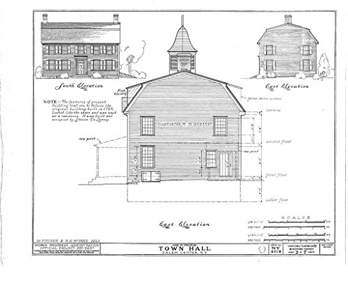 Historic Pictoric Structural Drawing HABS NY,60-SAL,1- (Sheet 3 of 7) - Town Hall, Salem Center, Westchester County, NY 55in x 44in