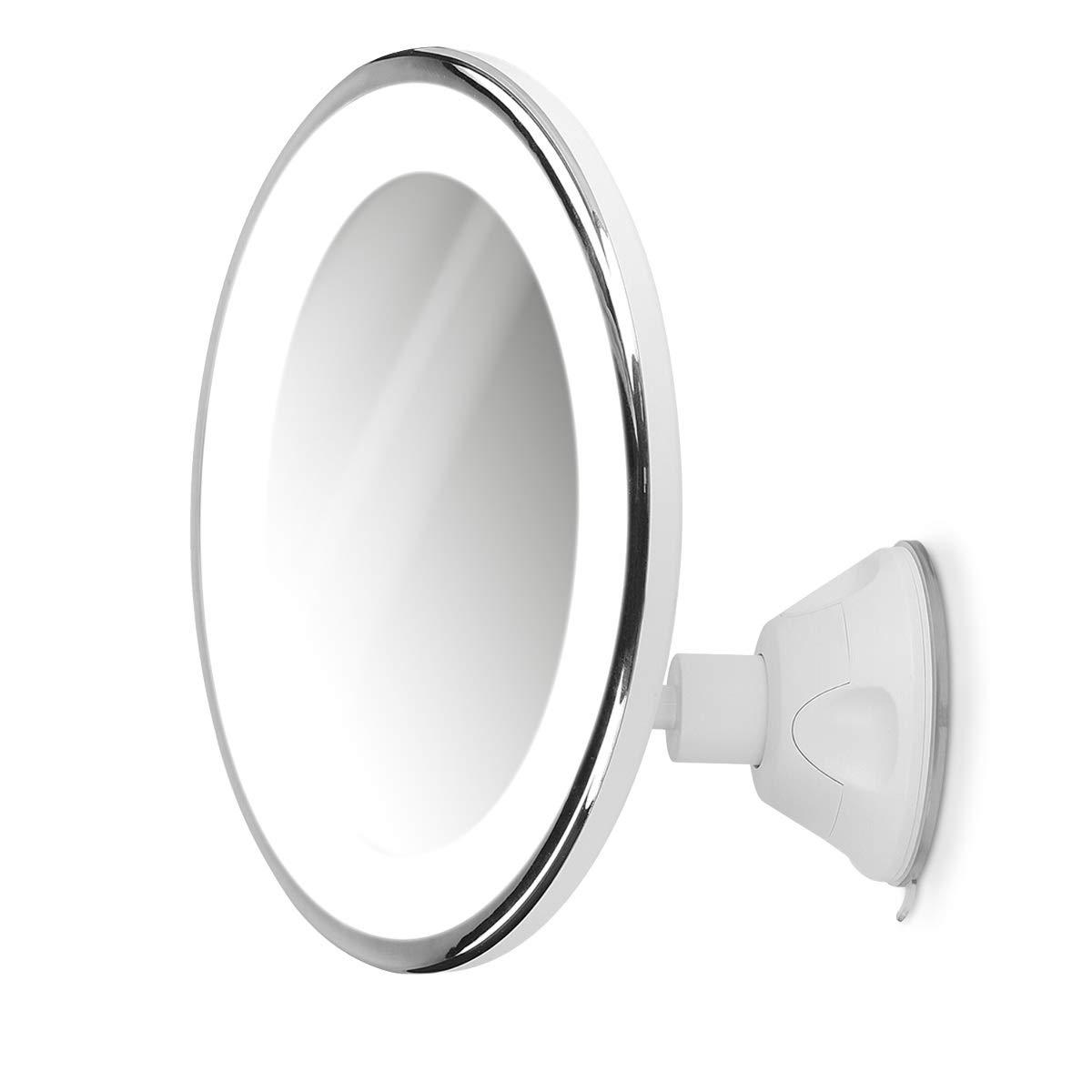 Zoom 10x Rotation 360/° Salle de Bain Maquillage beaut/é Voyage Miroir Mural Lumineux avec Ventouse Navaris Miroir grossissant /éclairage LED