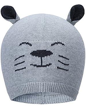 Vivobiniya Toddler baby boy lovely Animal modeling Knitted cap baby hats 0-6