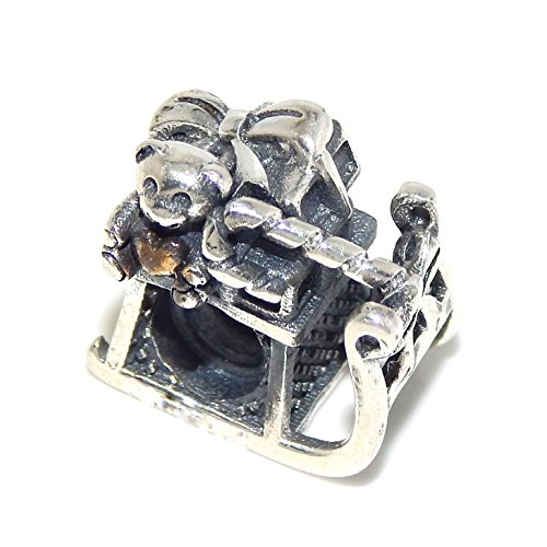 ICYROSE Solid 925 Sterling Silver Christmas Sleigh Filled with Toys Charm Bead for European Snake Chain Bracelets