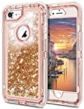 """JAKPAK iPhone 7 Case 3D Glitter Quicksand iPhone 7 Case Flowing Liquid Bling Sparkle Cover for Girls Woman Shockproof Heavy Duty Full Body Protective Shell for 4.7"""" iPhone 7 -Rose Gold"""