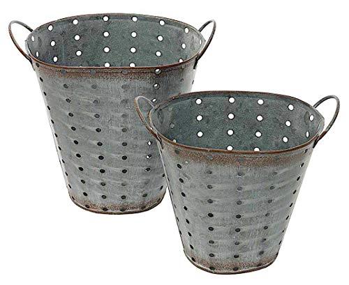 MeraV Metal Small Galvanized Pierced Oval Shape Containers Buckets Silver Decorative Distressed Rustic Indoor Outdoor Kitchen Pantry Bathroom Garden Garage Planter Organizer 7