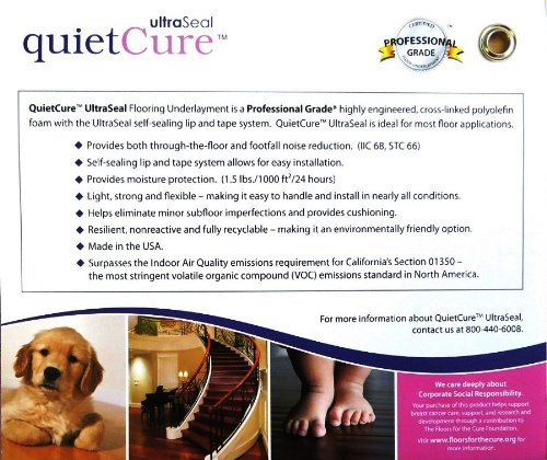 Quiet Cure UltraSeal Floating Wood and Laminate Flooring High-performance Acoustical Underlayment & Moisture Barrier with Self Sealing Overlap System by Floor Muffler
