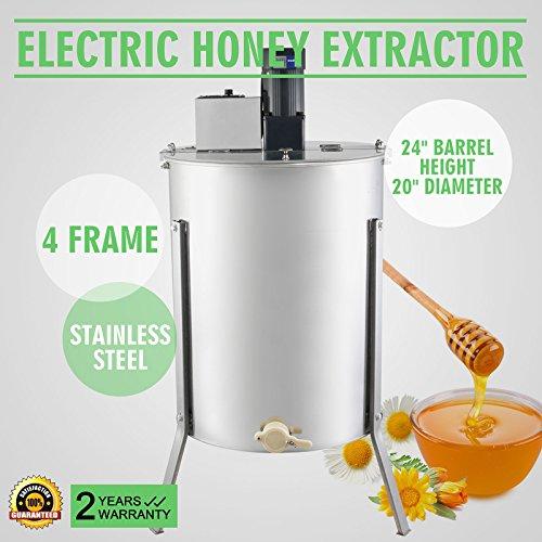 OrangeA Honey Extractor Bee Honey Extractor Electric Honeycomb Spinner 4 Frame Stainless Steel Beekeeping Accessory (4 Frame Electric Honey Extractor)