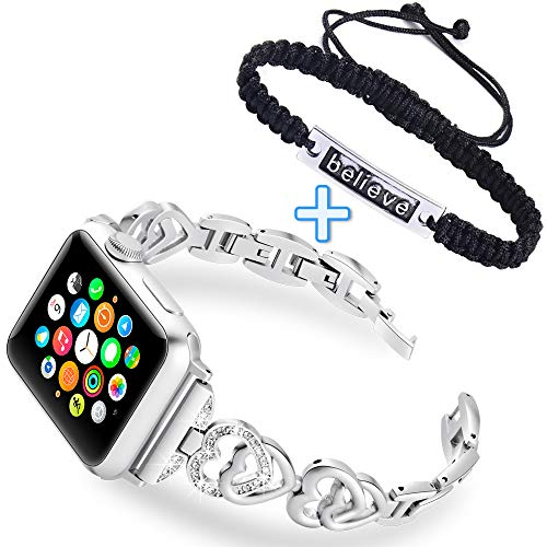 (KARBYE Heart Shaped Women Band Compatible for Apple Watch Band 38mm 40mm Silver for Series 4/3/2/1 + Believe Wave Bracelet Handcrafted Jewelry for Women, Metal Iwatch Bands 38mm 40mm for)