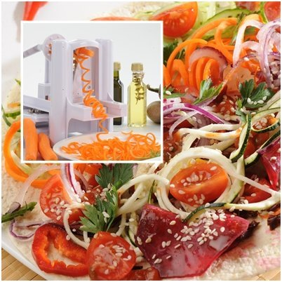 WonderVeg Vegetable Spiralizer - Tri Blade Spiral Slicer - Cleaning Brush, Mini Recipe Book and 6 Spare Parts Included - Zucchini Spaghetti Pasta Noodle Maker