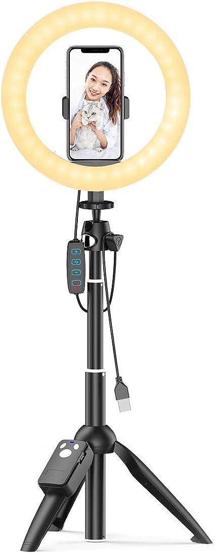 【多機能 3in1 LEDリングライト 自撮り棒 スマホ三脚】 外径8in Bluetoothリモコン付き 3色モード 10段階輝度調節 長さ7段階伸縮 360°回転 撮影照明用ライト 卓上ライト 美容化粧 YouTube生放送 ビデオカメラ撮影用 自撮り