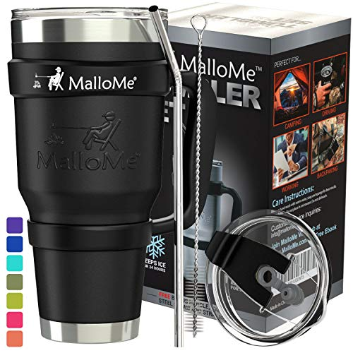 MalloMe Stainless Steel Vacuum Insulated 6-Piece Tumbler Set, Black 30 oz