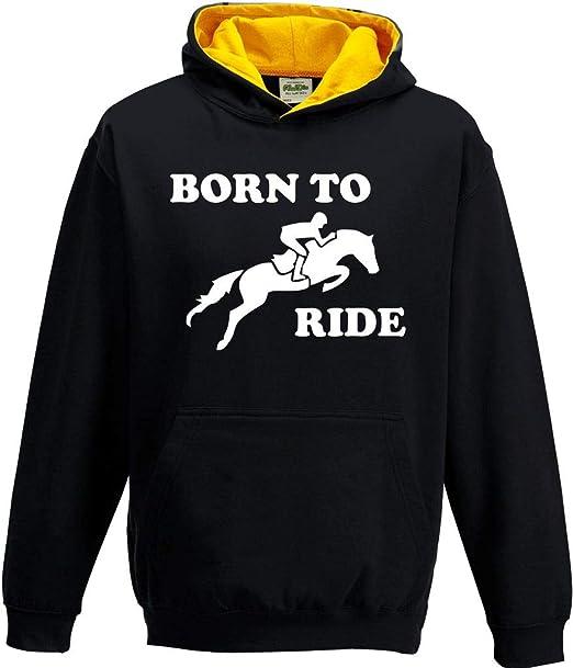 Kids Girls Boys Born To Ride Hoody Hoodie Hooded Sweatshirt Horse Riding Jumping