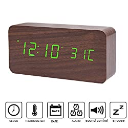 Wooden Digital Alarm Clock, Colisivan Modern Stylish Wood-shaped Voice Control Smart Desk Alarm Clock Displays Time Calendar and Temperature with Soft Night Light LED, Upgrade Edition (Wooden + Green)