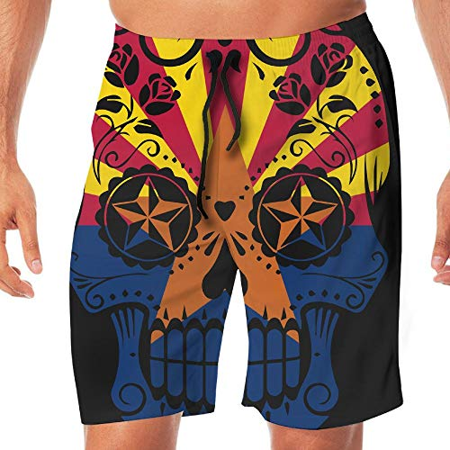 - Men's Workout Shorts Arizona Flag Sugar Skull Summer Vacation Beach Board Short Men