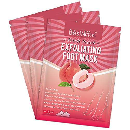 Foot Peel Mask 3 Pack, Soft Foot Exfliating Mask, Nature Peeling Callus, Dead Skin, Repair Rough Heels for Men & Women (Peach)