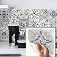 10 Pcs Vintage Moroccan Self-Adhesive Square Peel and Stick Non-Slip Waterproof Removable PVC Bathroom Kitchen Home…