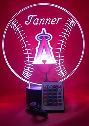 Light Baseball Mlb Night (Los Angeles Angels Light Up LED Handmade Angels MLB Baseball Personalized Light Lamp Light Up Table Lamp, Our Newest Feature - It's WOW, With Remote 16 Color Option, Dimmer, Free Engraving, Great Gift)