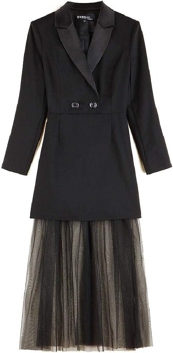 Losait Womens Slimming Dresses Elegent Splicing Blazer Fake Two Pieces Suit