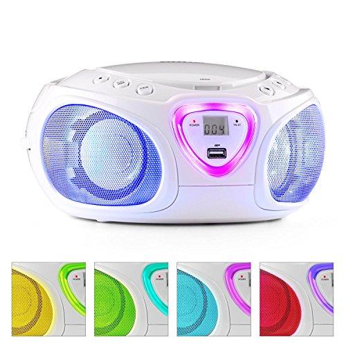 auna Roadie Boombox mobiler CD-MP3-Player mit USB-Anschluss Stereolautsprecher Küchenradio (Bluetooth, 2.1 LED-Beleuchtung mit Rhythmussteuerung, MW/UKW-Radio, AUX, Batteriebetrieb, Tragegriff) weiß