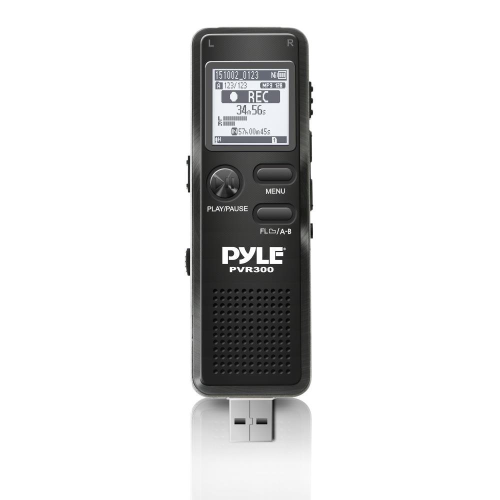 Pyle-Home PVR300 Rechargeable Digital Voice Recorder, USB and PC Interface, Rechargeable Battery, Micro SD Slot, 4GB Memory Voice Recorder Sound Around