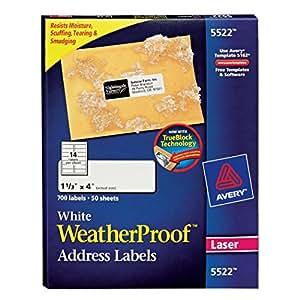 Avery Weatherproof Mailing Labels - Laser Printer, 50 Sheets  (5522)