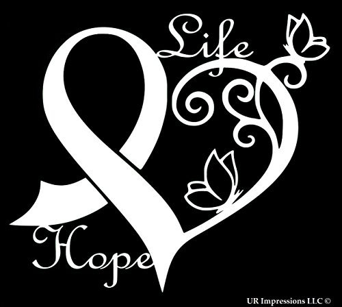 (UR Impressions Cancer Awareness Ribbon Heart Butterfly Vine - Life Hope Decal Vinyl Sticker Graphics Car Truck SUV Van Wall Window Laptop White 6.4 X 5.5 Inch URI442)