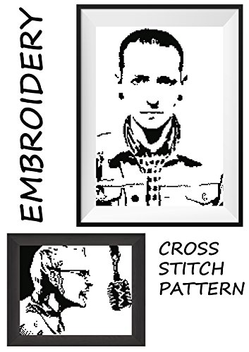 Chester Bennington LP Linkin Park rock band Handmade embroidery wall cross stitch portrait of music legend Monochrome black  white pattern made prese…