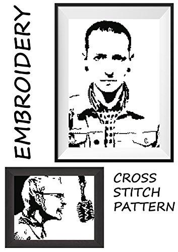 Chester Bennington LP Linkin Park rock band Handmade embroidery wall cross stitch portrait of music legend Monochrome black  white pattern made prese…