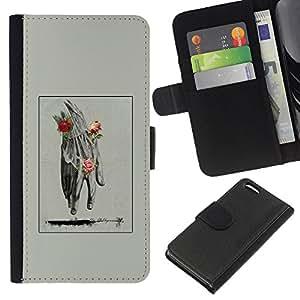 A-type (Hand Man Spring Deep Meaning Rose) Colorida Impresión Funda Cuero Monedero Caja Bolsa Cubierta Caja Piel Card Slots Para Apple iPhone 5C