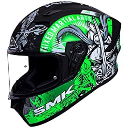 SMK Helmets – Stellar – Samurai – Black Grey Green – Pinlock Anti Fog Lens Fitted Single Clear Visor Full Face Helmet…