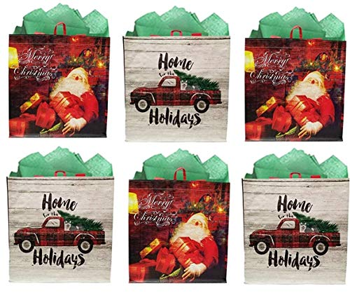 Earthwise Reusable Grocery Gift Bag Totes Assorted Xmas Christmas Holiday Shopping Designs Eco Friendly (Pack of 6)