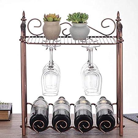 Estantería de vino Estante de vino Estante de vino Estante Botella de vino 4 Botellas colgantes 6 Copas de vino Estante de vino Estilo vintage Hierro Gabinete de almacenamiento de metal Sostenedor de