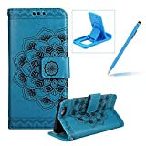 Rope Leather Case for iPhone 6S,Strap Wallet Case for iPhone 6,Herzzer Bookstyle Classic Elegant Mandala Flower Pattern Stand Magnetic Smart Leather Case with Soft Inner for iPhone 6/6S 4.7 inch + 1 x Free Blue Cellphone Kickstand + 1 x Free Blue Stylus Pen - Blue