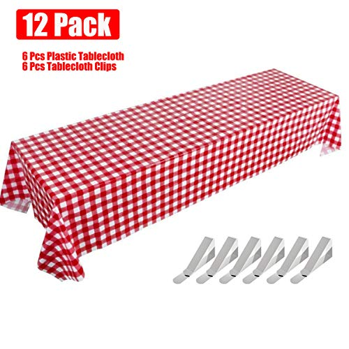 Gingham Picnic Tablecloth, Red Checkered Disposable Table Covers, 6 Pack Plastic Table Cloths for Cowboy Western Italian Camping Barn Yard Birthday Farm -