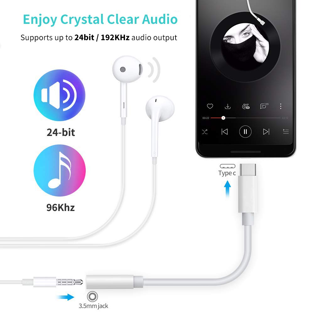 Type C to Audio Jack Adapter with Clear Sound USB C to 3.5mm Headphone Adapter for iPad Pro//macbook Air//Pixel 2//3//Huawei//Xiaomi//HTC and more Headphone Adapter for ipad pro