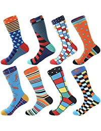 7eb4ad24c3cb Men's Fun Dress Socks - Colorful Funny Novelty Crazy Crew Socks Packs with  Cool Argyle Pattern