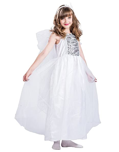 FantastCostumes Girl's White Lace Princess Costumes Party Dress(White, S(3T-4T))