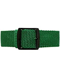 DaLuca Braided Nylon Perlon Watch Strap - Green (PVD Buckle) : 20mm