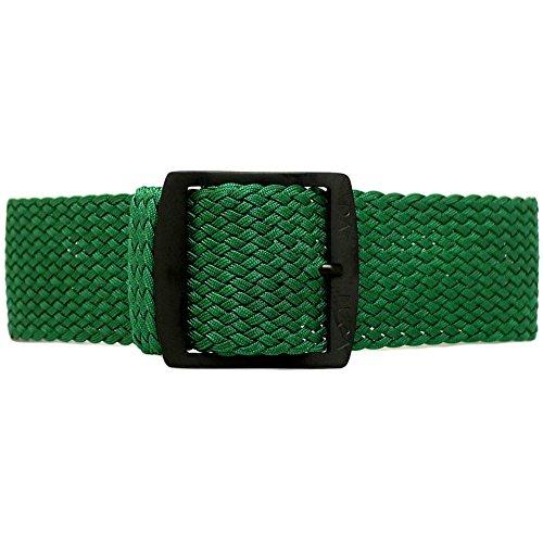 DaLuca Braided Nylon Perlon Watch Strap - Green (PVD Buckle) : 18mm