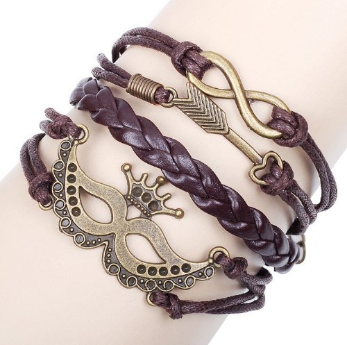 Kitty-Party 2 Pcs Hand-woven Hand-made Antique Halloween Party Mask Design Exotic Retro Feeling Ladies Women Men Bracelets with Synthetic Leather Band
