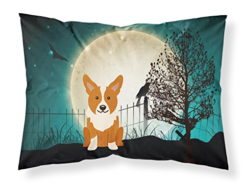 Caroline's Treasures BB2290PILLOWCASE Halloween Scary Corgi Fabric Pillowcase, Standard, Multicolor (Halloween Corgi)