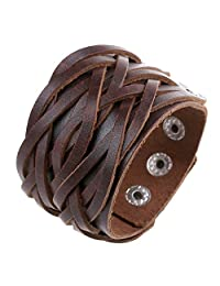 Leather Bracelet Braided Handcraft Bangle Leather Cuff Wristband Punk Rock Wide Strap