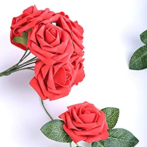 Egles Artificial Flower 20pcs Fake Flowers with Stems, Red Rose for Gif DIY Wedding Centerpieces Arrangements Birthday Home Party Bouquets Decor 3